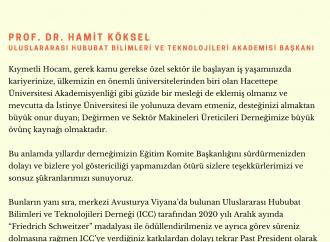 BAŞKANIMIZ HAMİT KÖKSEL'İ TEBRİK ETTİ
